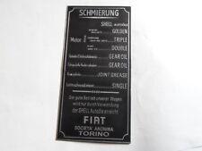 targa ì FIAT Lubrificazione Di Segno targhetta identificazione 508 509 Topolino