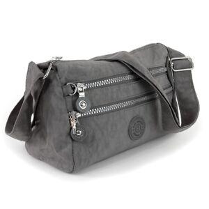 06fb16188cb90 Das Bild wird geladen Umhaengetasche-Nylon-grau-sportliche -Damen-Handtasche-OTJ229K-Bag-