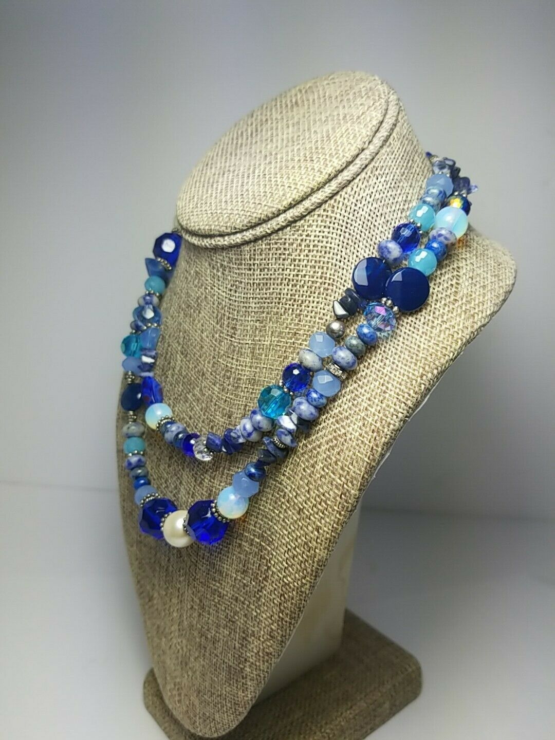 Vintage 1950s JAPAN vintage glass beaded necklace 3 strands of baby blues and sapphire art glass