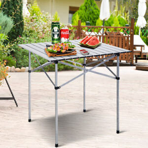 Image Is Loading 70x70cm Aluminium Folding Portable Camping Table Roll Top