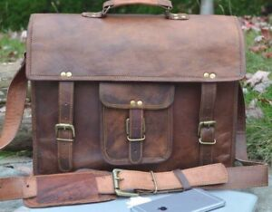 Men/'s Real Retro Vintage Leather Messenger Business Laptop Briefcase Satchel Bag