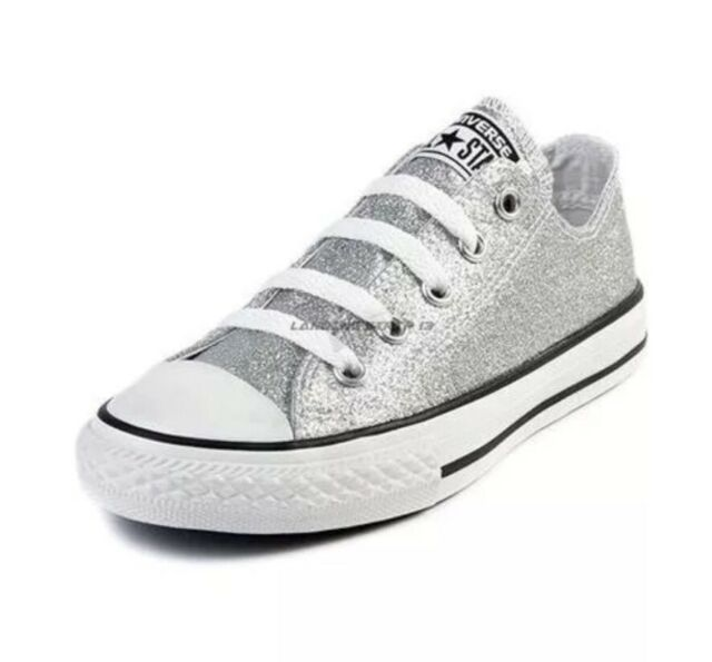 9bde207fda6e Converse Women Sz 12 Men Sz 10 All-Star Ox Silver Glitter Lo Top Sneakers