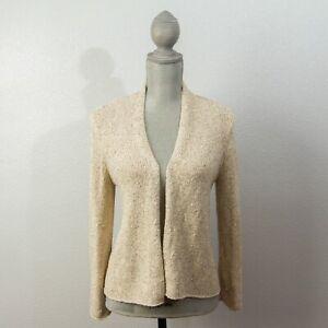 Eileen-Fisher-Womens-Silk-Knit-Cardigan-Size-XS-Open-Front-Sweater-Beige
