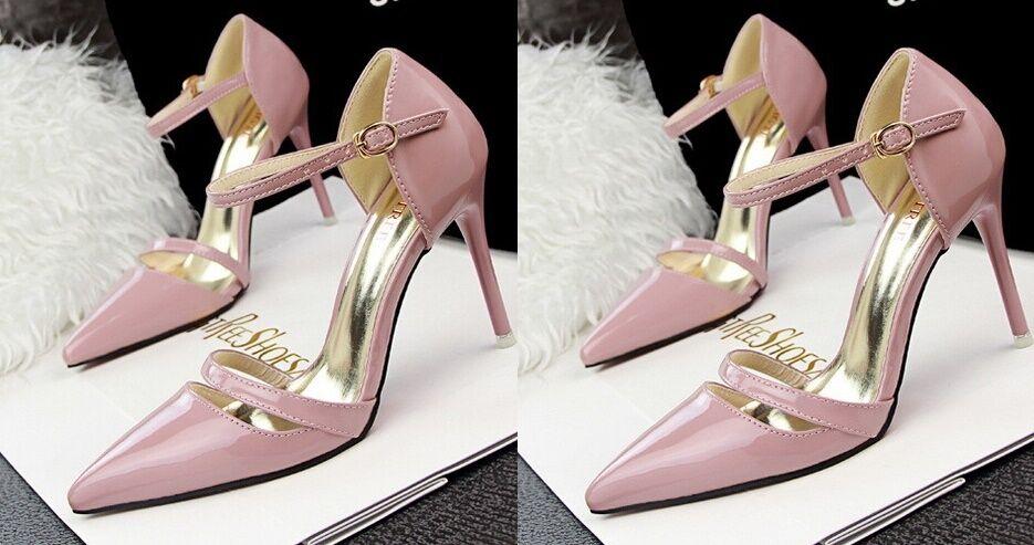 Décollte Schuhe Pumps FrauenSandale 9 cm cm 9 Stilett rosa Farbe 8609 b1a60b