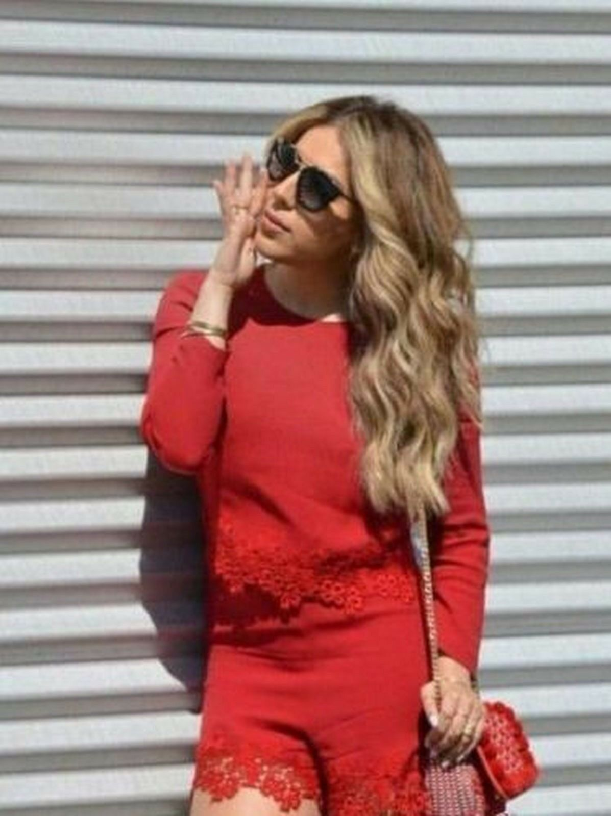 ZARA EMBROIDERED LACE LONG SLEEVE JUMPSUIT DRESS ROMPER RED NEW WITH TAGS SMALL