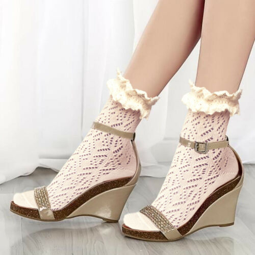 Women/'s vintage lace ruffled frilly cotton ankle boot socks Girl/'s fashion gifts