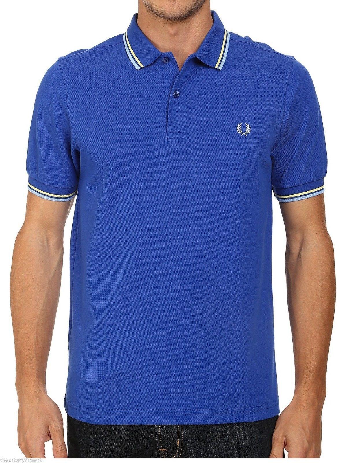 FRED PERRY Twin Tipped Piqué Polo Shirt M Regal bluee Ecru Sky Tip Slim Fit NWT