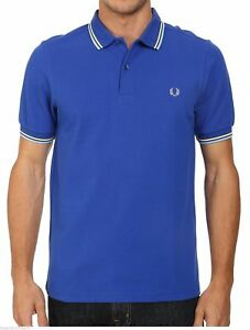 Fred Perry Twin Tipped Pique Polo Shirt M Regal Blue Ecru Sky Tip