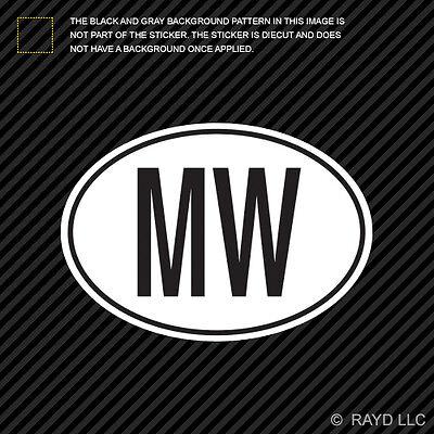 MW Malawi Country Code Oval Sticker Decal Vinyl Malawian euro