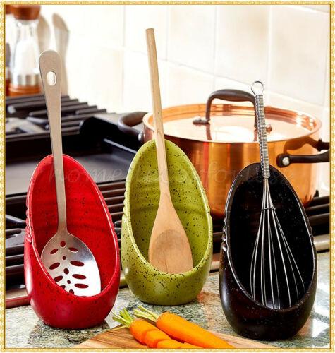 Kitchen Stovetop Speckled Upright Spoon Rest Earthenware Utensil Holder 6 COLORS