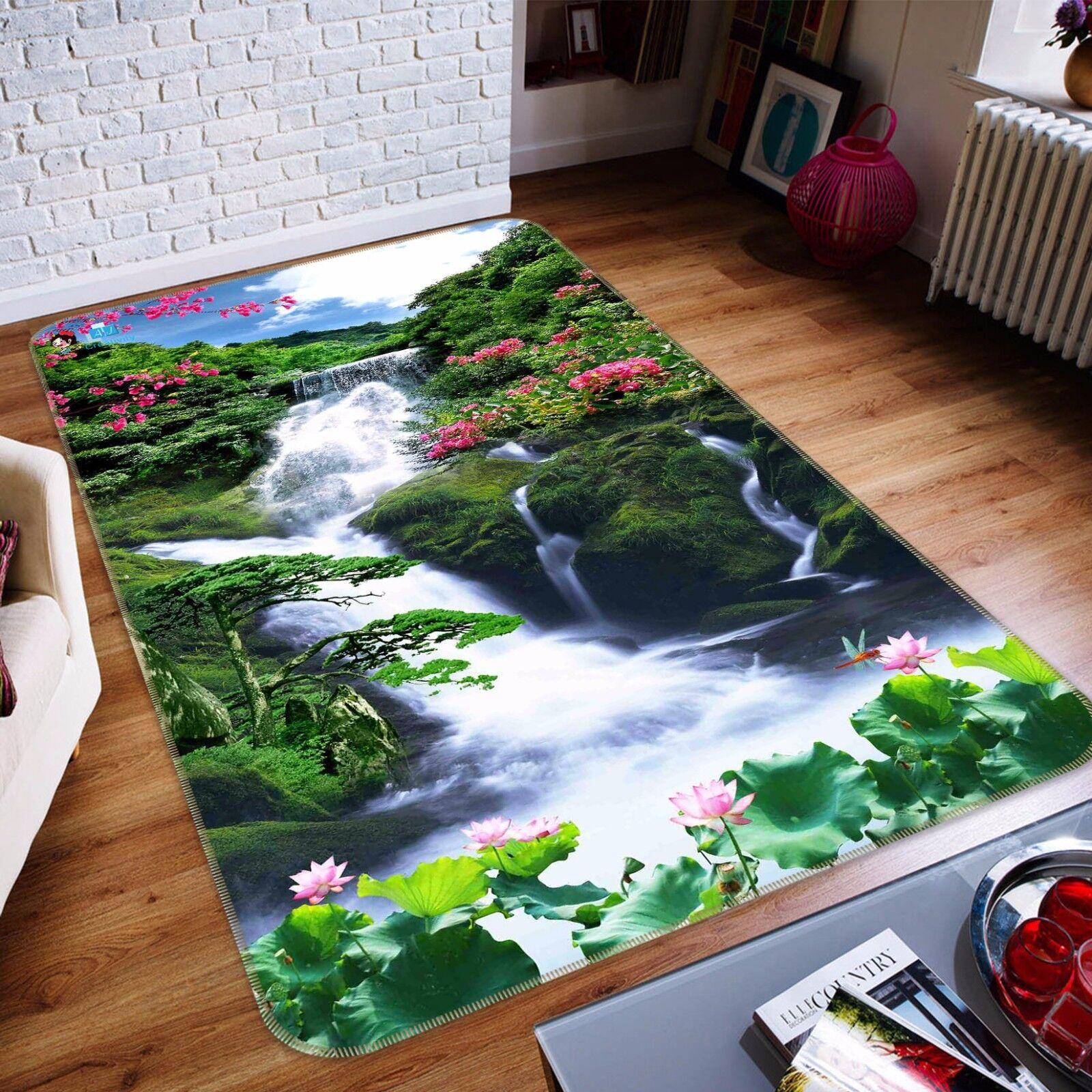 3D Waterfall Trees 48 Non Slip Rug Mat Room Mat Quality Elegant Photo Carpet CA