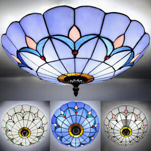 Image Is Loading Mission Flush Mount Light Tiffany Stained Gl Ceiling