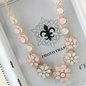PARTY-BRIDAL-PASTEL-COLOR-FLOWER-PENDANT-PEARL-BEADS-SHORT-NECKLACE-CHIC-JEWELRY