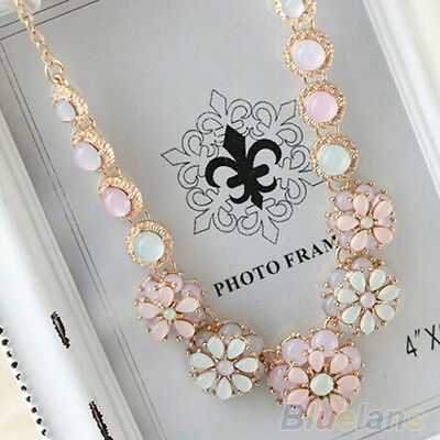 Gemstone Flower Bib Statement Necklace Nobby Bubble Pearl Choker Pendant Chain