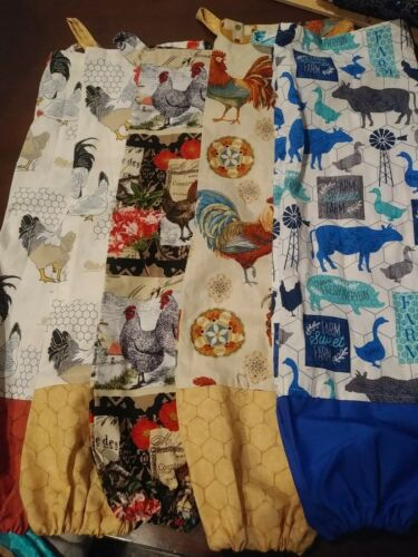 Homemade Fabric Grocery Plastic Bag Holder CHICKENS /& ROOSTERS FREE SHIP
