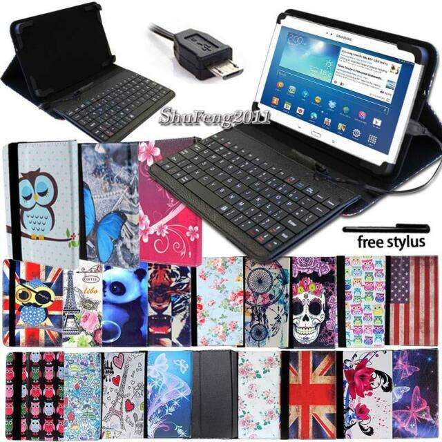 """Universal Stand Leather Case Cover w// USB Keyboard for Android Tablet 10/"""" Black"""