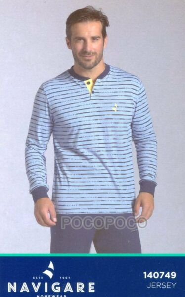 100% Verdadero Pijama 3 Botones Hombre Manga Larga Algodón Navigare Art.140749