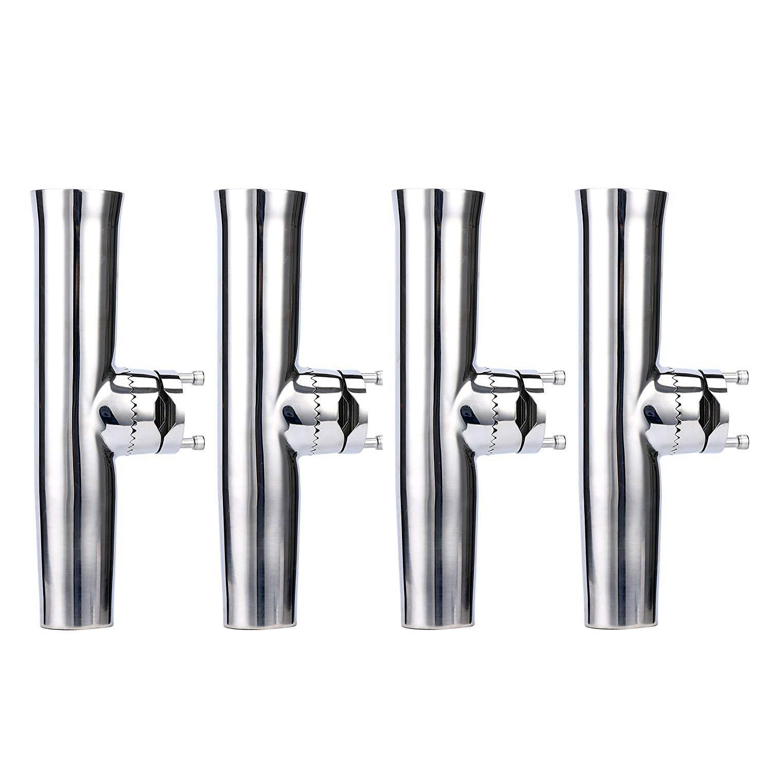 4 PCS Stainless Tournament Style Clamp on Fishing Rod Holder For Rail 78 to 1