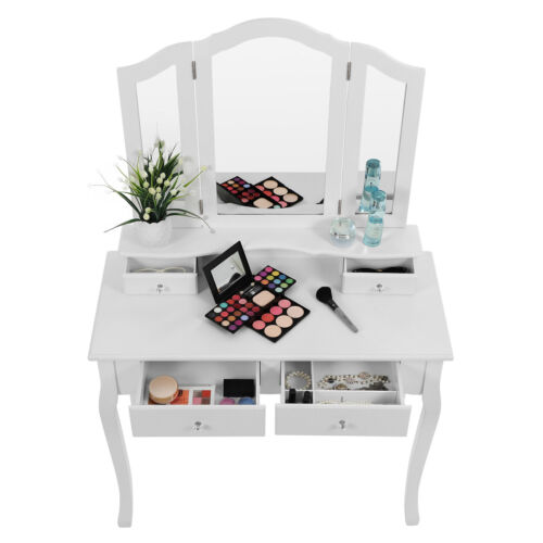 SONGMICS dressing table set wood White with mirror stool Bedroom Makeup Desk