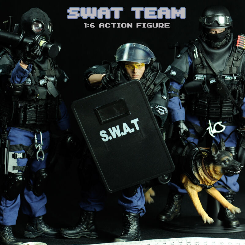 12  Set of 3 SWAT Elite Special Force Police Action Figure with Dog 1 6 IN Box