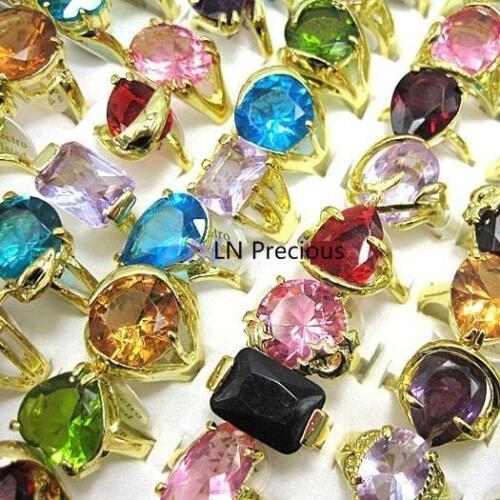 3pcs cristal Zircon Plaqué Or Anneaux New Wholesale Jewelry Lots
