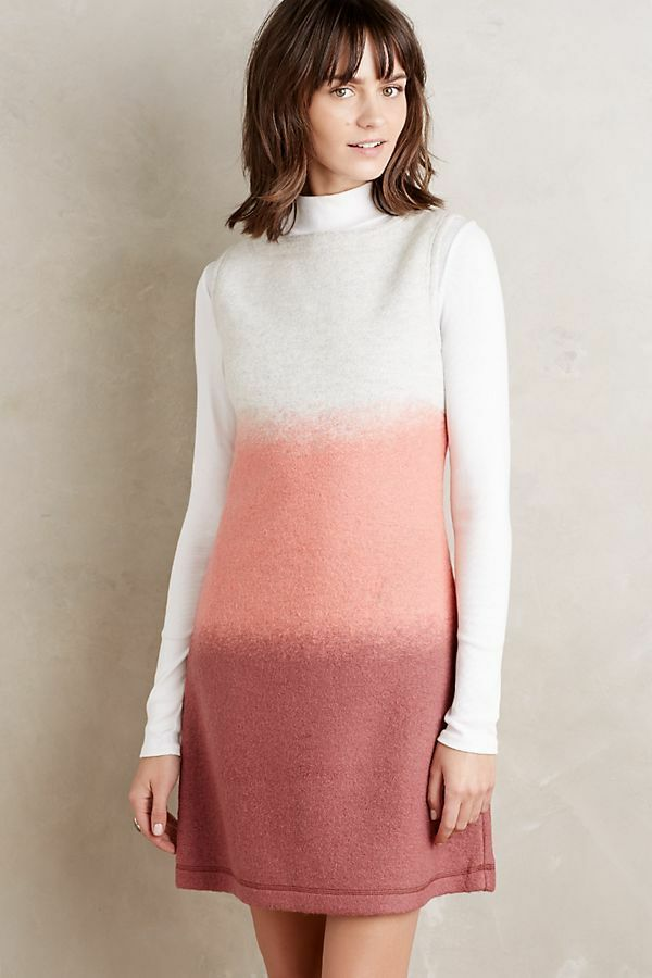 NWT Anthropologie Ombre Sweater Shift felted wool pink Hoss Intropia XS orig