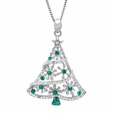 Christmas Tree Pendant with Forest & White Swarovski Crystals in Sterling Silver