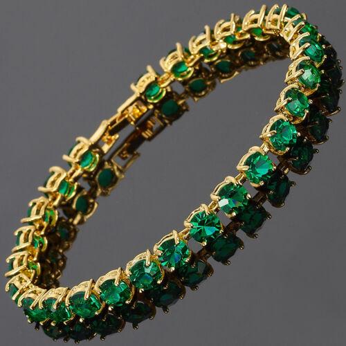 26x6mm Corte Redondo Verde Esmeralda delicada Piedra Preciosa Chapado en Oro 18K Pulsera de tenis