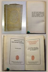 Schiller-Asthetische-Erziehung-1905-Ex-43-100-Vorzugsausgabe-Pergamenteinband
