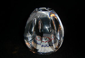 Whitefriars-Glass-Conical-Flat-Top-Facet-Cut-Millefiori-Paperweight-P5-1976