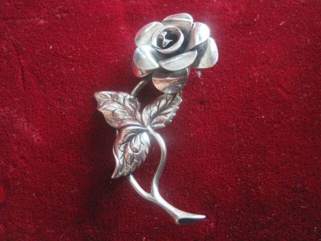 Sterling Silver Beau Beaucraft Rose Flower Brooch Pin WeddingBoutonniere Corsage