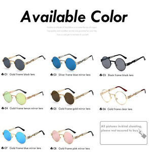 cd9d9047f8f1 Image is loading Round-Sunglasses-Men-Women-Vintage-Retro-Luxury-Metal-