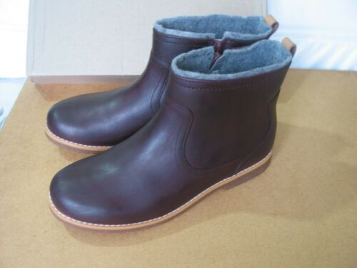 NEW CLARKS OLDER GIRLS COMET FROST BURGUNDY LEATHER ANKLE BOOTS 2.5 G,3F 3.5 F