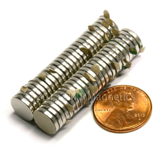 "CMS Magnetics® N45 Neodymium Magnet 3//8/""x 1//16/"" w// 3M Adhesive on North 50-pc"