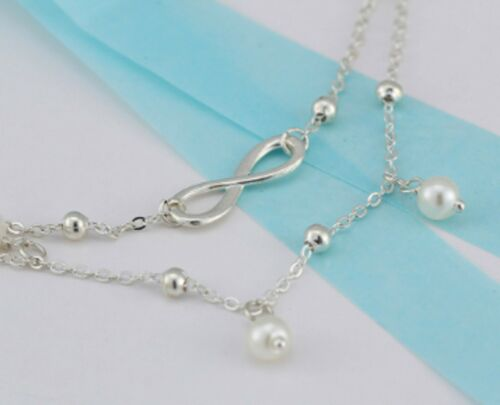 ANKLET Infinity 2 Layer Silver Anklet Long Chain necklace Foot Jewellery ANC04