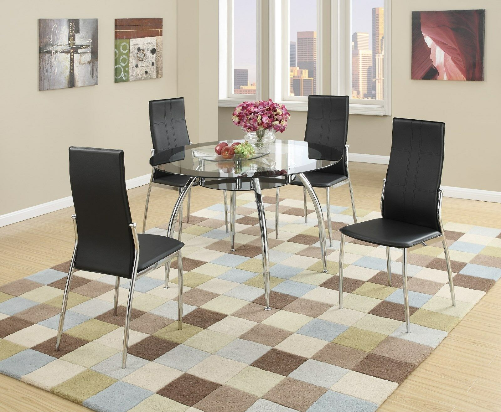 Details About New Tulsa Ii Modern Round Black Chrome Metal Gl Top Dining Table Kitchen Set