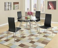 NEW TULSA II MODERN ROUND BLACK CHROME METAL GLASS TOP DINING TABLE KITCHEN SET