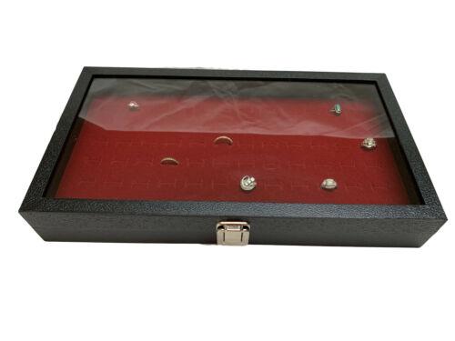 72 Ring Glass Top Jewelry Display Storage Case Organizer Rings Burgundy insert