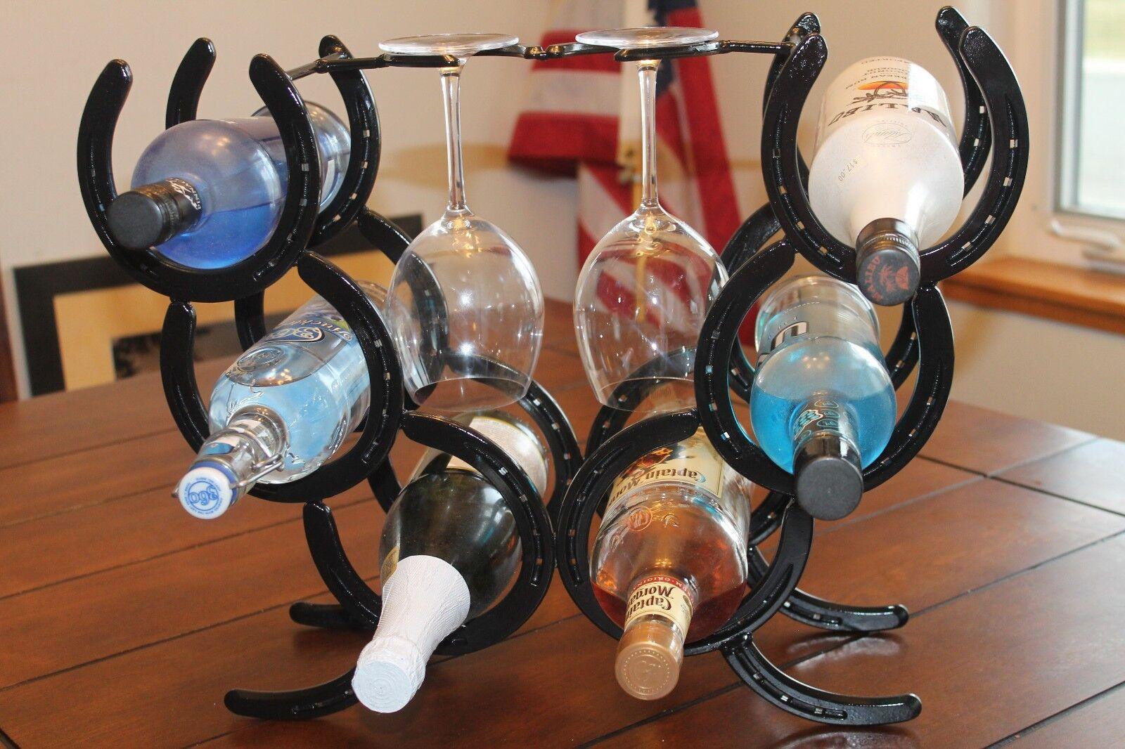 Horsechaussures vin étagère à 6 bouteilles et verres 2