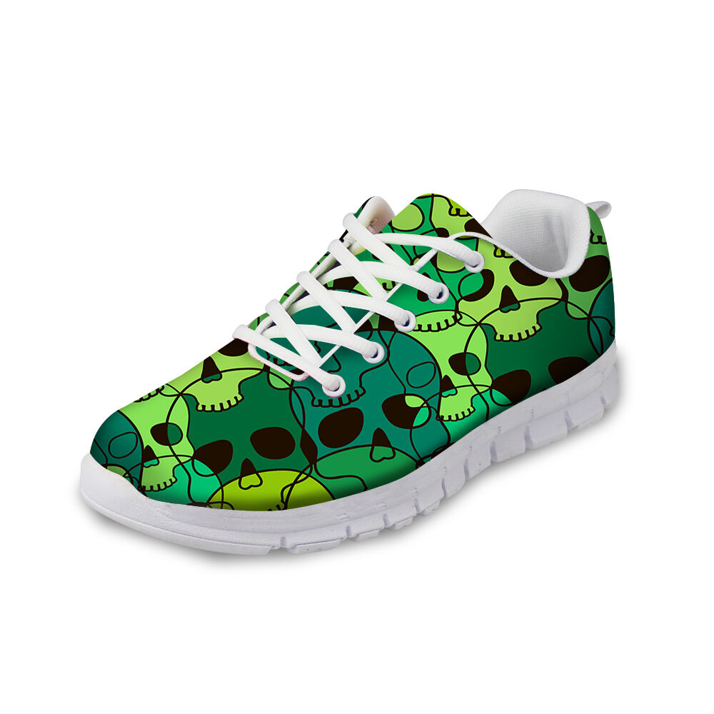 Green Skull Lady Women Jogging Trainer Lace Up Running Sneakers Fashion Pumps