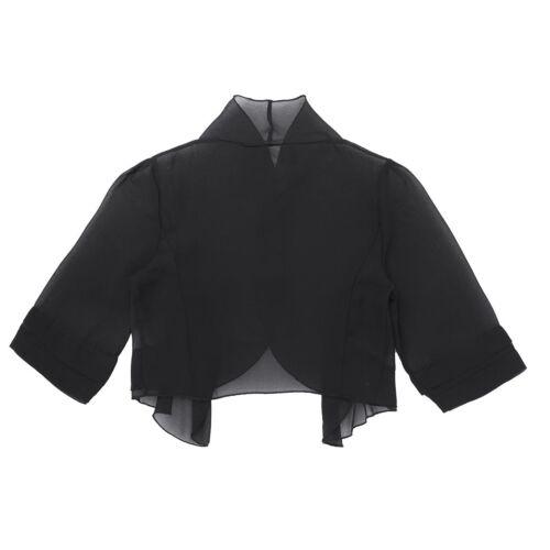 US Women Sheer Chiffon Half Sleeves Bolero Shrug Open Front Jacket Cardigan Tops