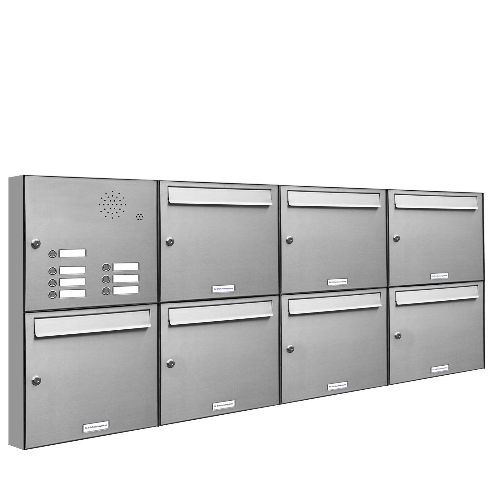 7 er Premium V2A Edelstahl Wand Briefkasten Anlage Klingel A4 Postkasten 4x2