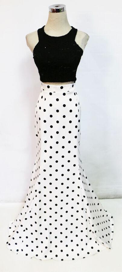 MASQUERADE schwarz Weiß 2 Pieces Prom Gown 7 -  NWT