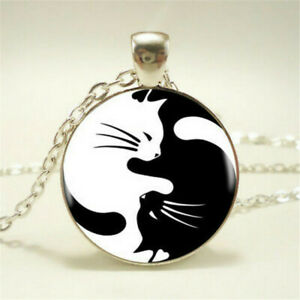 NEW-Yin-Yang-Cat-Pendant-Choker-Statement-Silver-Necklace-For-Women-Jewelry