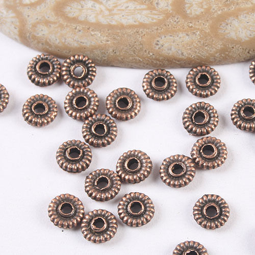 200pcs antiqued copper  round daisy  spacer beads H3480