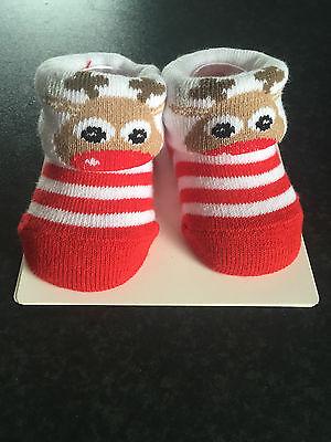 BNWT Baby Boys or Girls Age 18 to 36 Months Christmas Fuzzy Reindeer Logo Socks