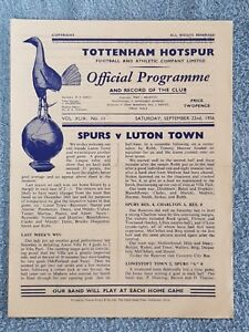 1956-TOTTENHAM-v-LUTON-TOWN-PROGRAMME-FIRST-DIVISION-56-57