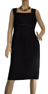 JESSICA-HOWARD-SIZE-12-BLACK-LINEN-BLEND-DRESS-AS-NEW
