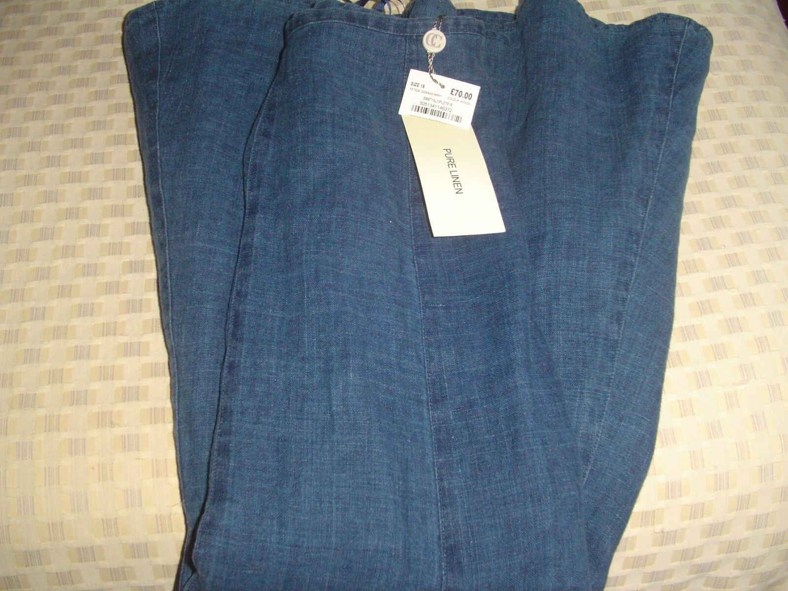 Country Casuals Pure Denim Look 100% Linen Skirt 16 NWT