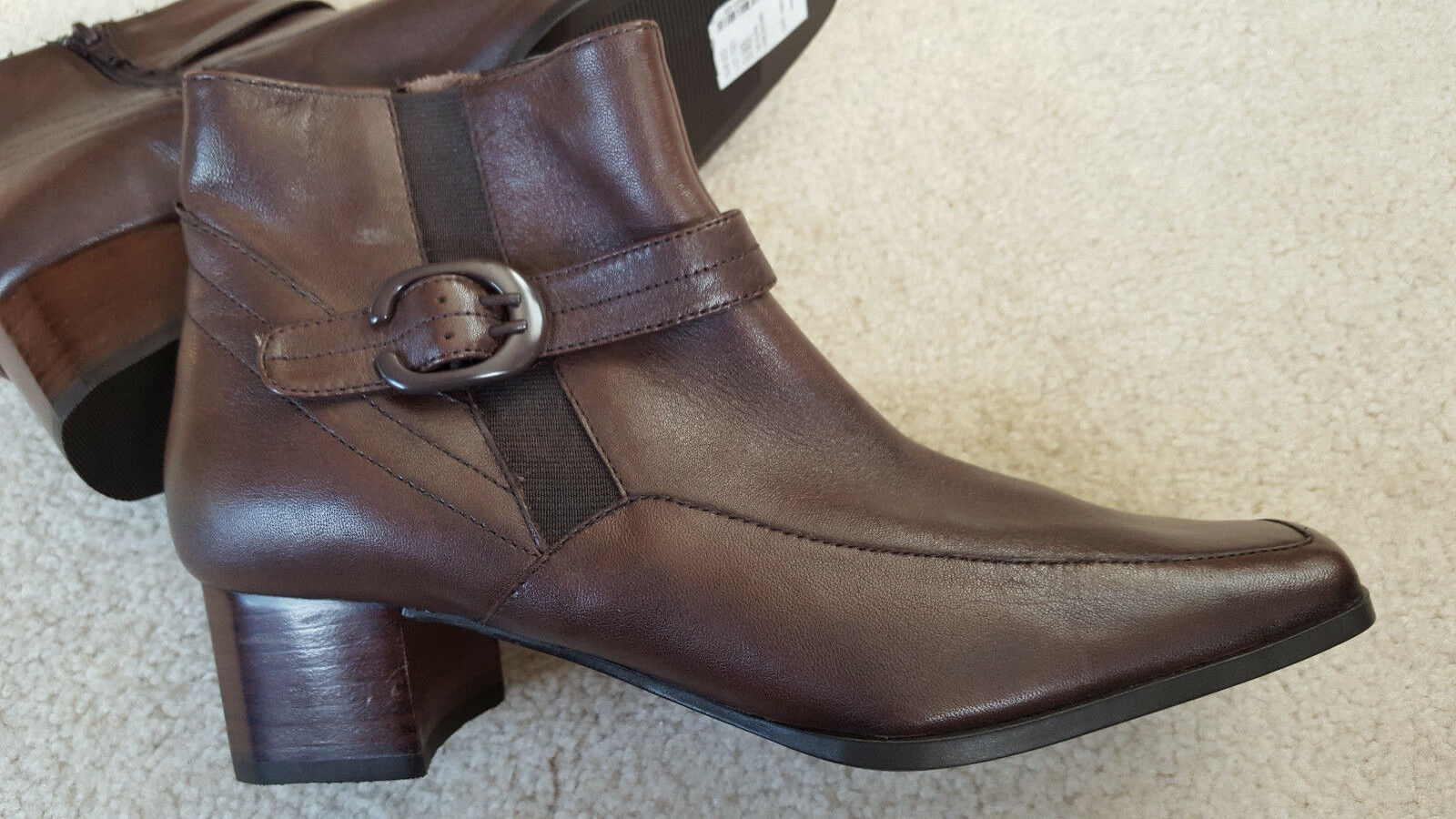NEW Women's SJB Alana Dark Brown Leather Low Ankle Boot Size 6.5